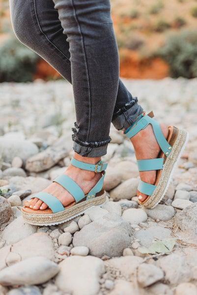 Baby Blue Platform Sandals