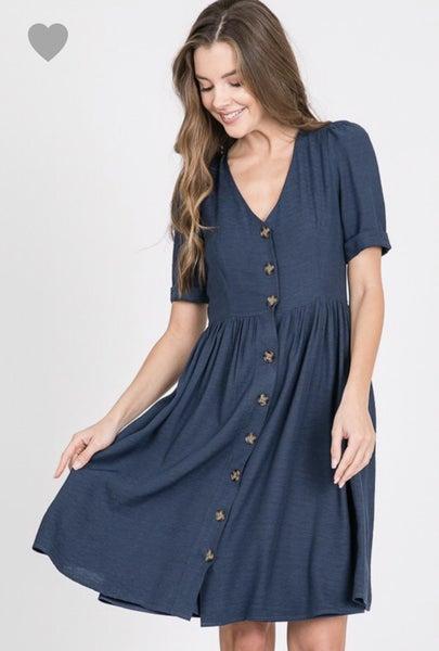 Navy Button Dress
