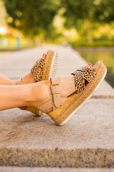 Cheetah Criss Cross Platform Sandals