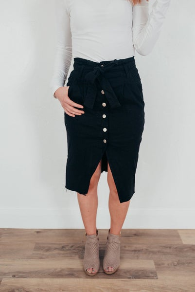 Black Button Denim Skirt