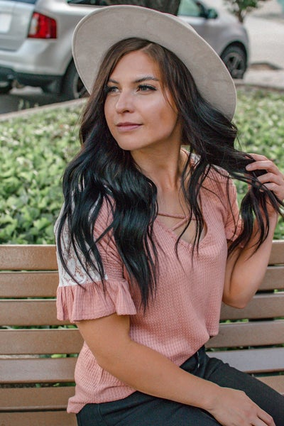 The Sadie - Criss Cross Pink Lace Top