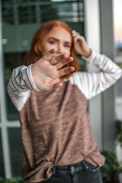 Mocha Tunic with Mauve Striped Sleeves