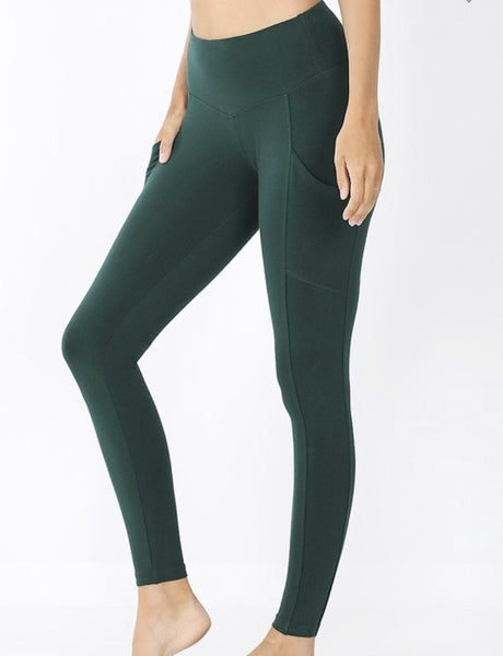 Hunter green cotton leggings with pockets