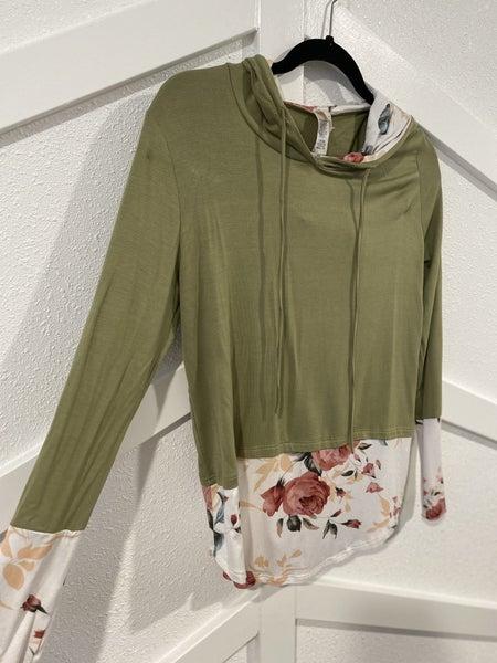Olive Green Floral Top