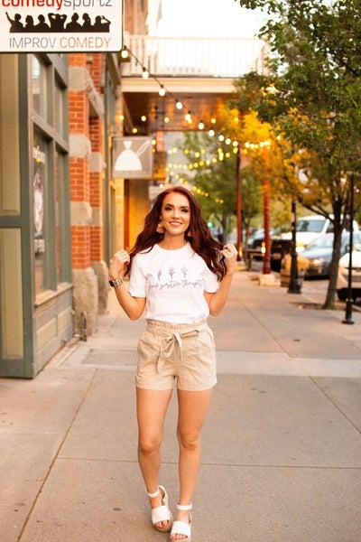 Ashley's Fav Paper Bag Shorts in Tan