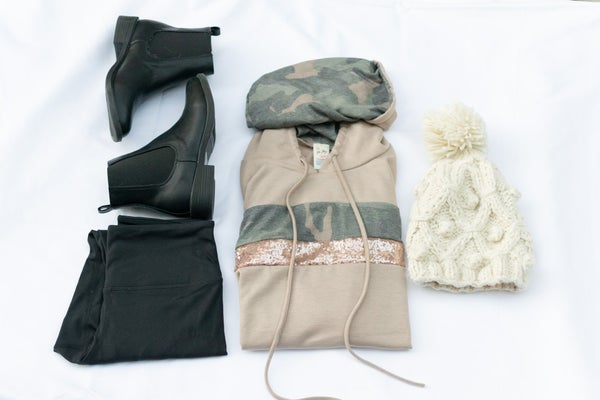 The Sarah- Camo/Glitter Striped Hooded Top