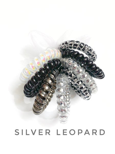 Silver leopard hair coils set of 8