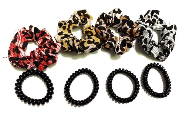 Children's Mini leopard scrunchies and coil set.