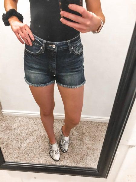 Dark Wash Kan Can Shorts