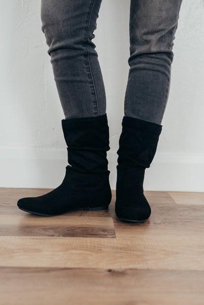 Black mid calve boots