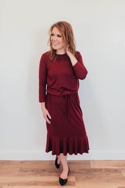 Burgundy high low ruffle dress