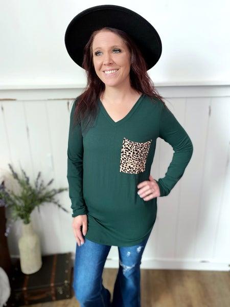 Hunter green long sleeve V neck with leopard pocket