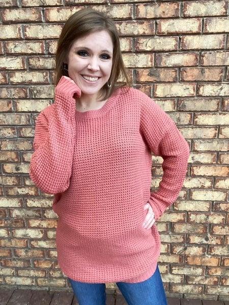 Pink waffle sweater