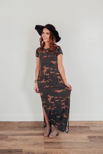 Camo Maxi Slit Dress