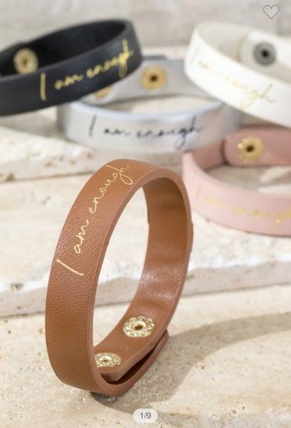 I am enough leather bracelet