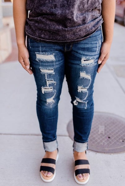 Kancan patched jeans