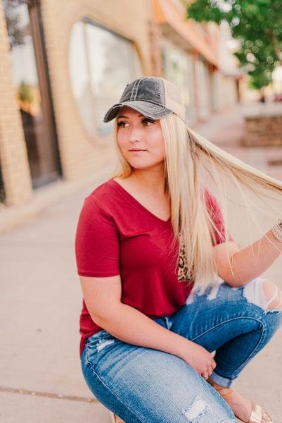 Gray ponytail CC baseball hat