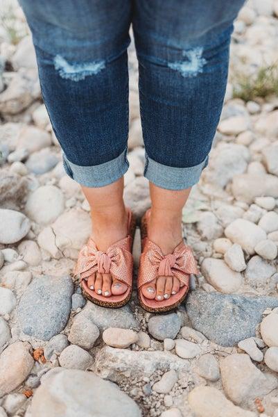 Mauve cork sandals