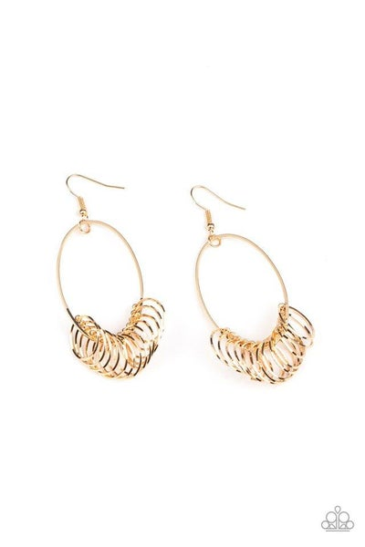 Paparazzi Earring ~ Halo Effect - Gold