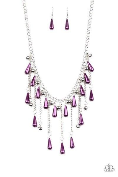 Paparazzi Necklace ~ Fleur de Fringe - Purple
