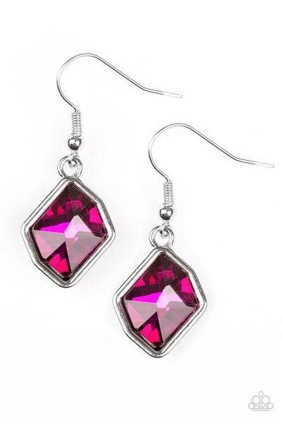 Paparazzi Earring ~ Glow It Up - Pink