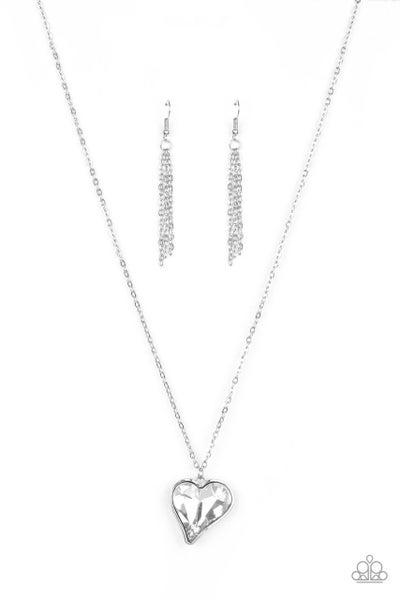 Paparazzi Necklace ~ Heart Flutter - White