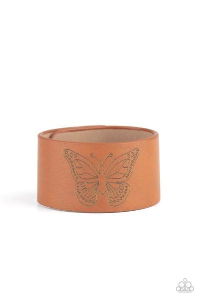 Paparazzi Bracelet  LOP August ~ Flirty Flutter - Brown
