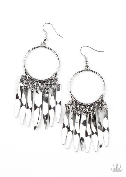 Paparazzi Earring ~ Let GRIT Be! - Silver