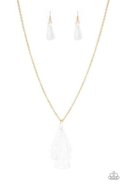 Paparazzi Necklace ~ Triple The Tassel - White