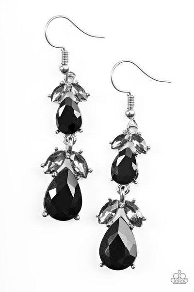 Paparazzi Earrings - Trophy Hall - Black