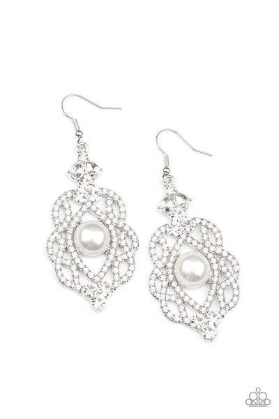 Paparazzi Earring ~ Rhinestone Renaissance - White