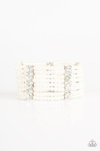 Paparazzi Bracelet ~ Get In Line - White