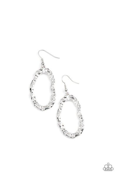 Paparazzi Earring PREORDER ~ ARTIFACT Checker - Silver