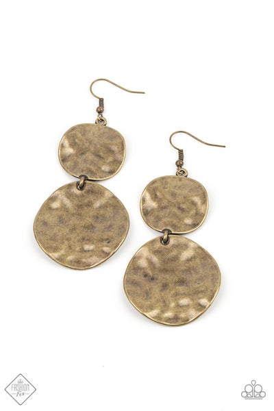 Paparazzi Earring Fashion Fix Jan 2021 ~ HARDWARE-Headed - Brass