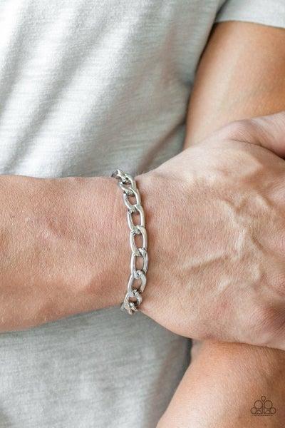 Men's Paparazzi Bracelet ~ Goalpost - Silver