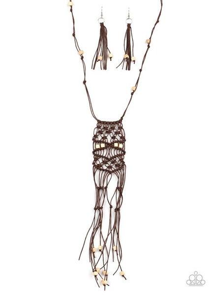 Paparazzi Necklace ~ Macrame Majesty - Brown