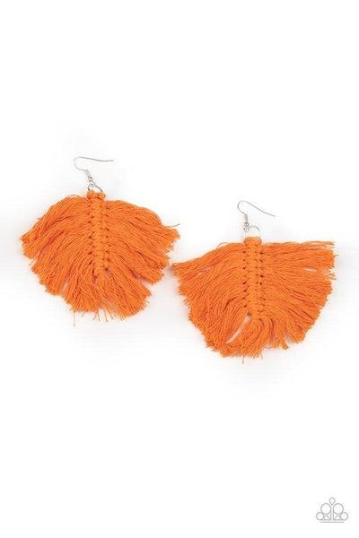 Paparazzi Earring ~ Macrame Mamba - Orange