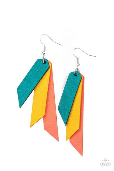 Paparazzi Earring ~ Suede Shade - Mult
