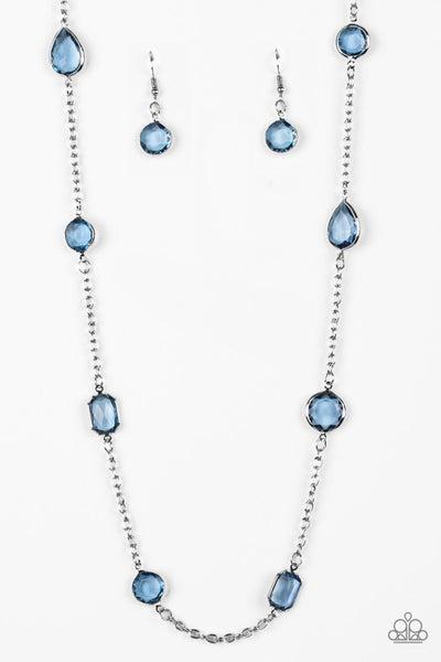 Paparazzi Necklace ~ Glassy Glamorous - Blue
