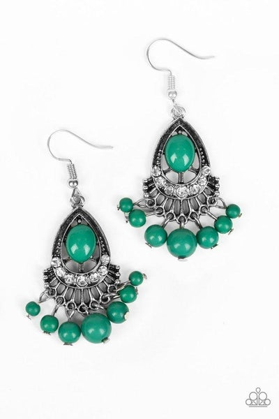 Paparazzi Earring ~ Floating On HEIR - Green