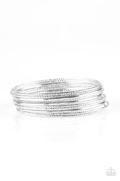 Paparazzi Bracelet ~ Bangle Babe - Silver