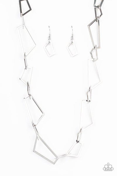 Paparazzi Necklace ~ Shattering Records - Silver