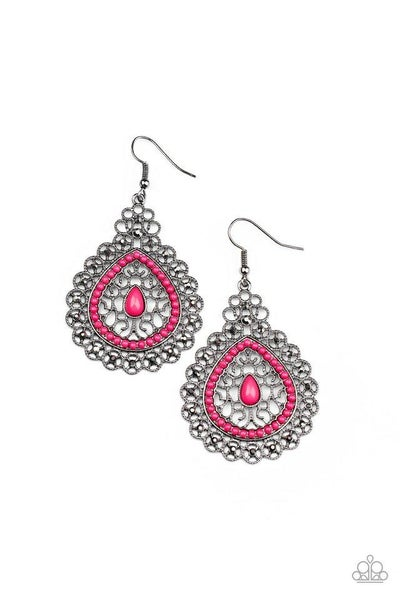 Paparazzi Earring ~ Carnival Courtesan - Pink
