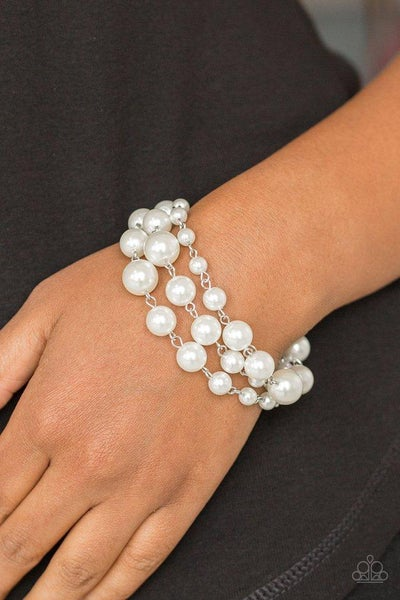 Paparazzi Bracelet ~ Until The End Of TIMELESS - White