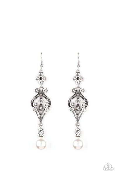 Paparazzi Earring ~ Elegantly Extravagant - White