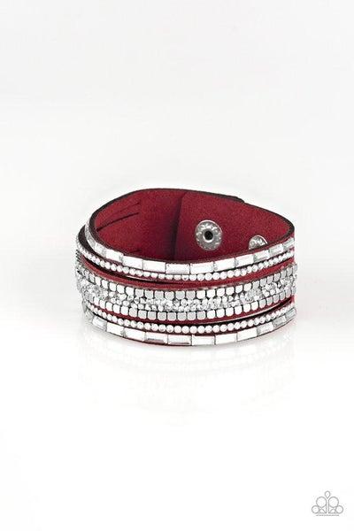 Paparazzi Bracelet ~ Rebel In Rhinestones - Red