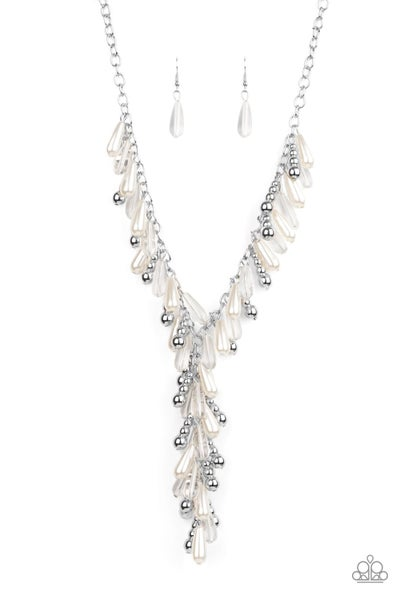 Paparazzi Necklace April LOP ~ Dripping with DIVA-ttitude - White