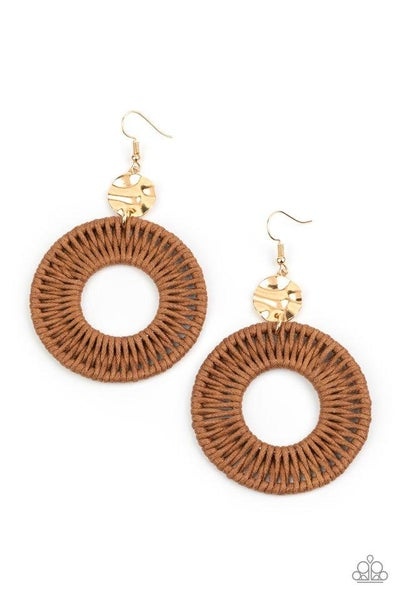 Paparazzi Earring ~ Total Basket Case - Brown