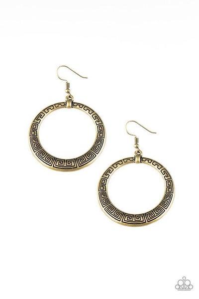 Paparazzi Earring ~ Mayan Mantra - Brass