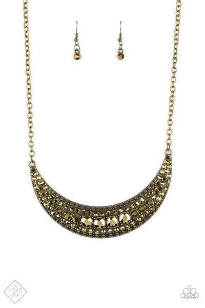 Paparazzi Necklace ~ Moon Child Magic - Brass - Fashion Fix Aug2020